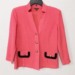Misook Sz SP coral pink orange knit blazer jacket